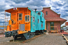 Ritzville Caboose (NikonDigifan) Tags: blue orange clouds train nikon caboose depot topaz adjust d300 greatnorthernrailway