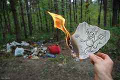 Pencil Vs Camera - 27 (Ben Heine) Tags: light wallpaper blur green nature toxic ecology illustration trash forest paper lens fire freedom garbage focus dof hand pov drawing earth lumire air main creative evil a