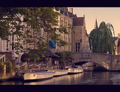 Brugge (IsoD300) Tags: old bridge house tree water boat bomen groen blauw brugge boten bruges brug huis oud huizen