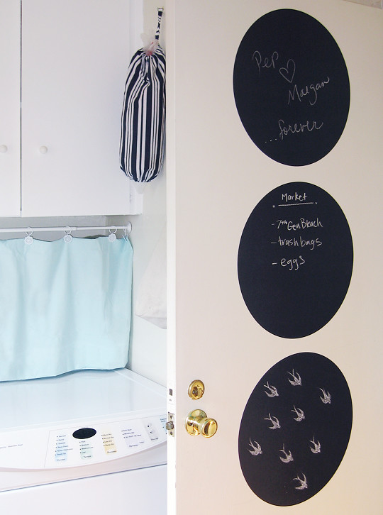 chalk dots+chalkboard+decor+miu miu swallows -laundry room door