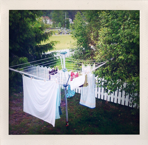 the clothes line on a rainy day