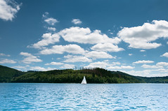 Biggesee (Ben Fredericson (xjrlokix)) Tags: blue wallpaper lake nature water clouds germany landscape see ship 1920 segelboot attendorn sauerland olpe 1080 1275 biggesee