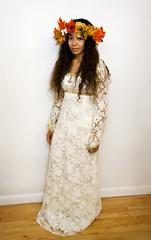 Fair Maiden (Miriam J) Tags: fall halloween beauty leaves fashion costume model dress fairy mystical weddingdress mothernature motherearth whitedress lacedress