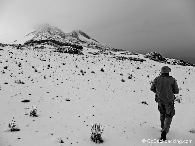 A professional photographer from our group walks through the snow, trying to get a few good photos.
