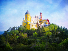 Pena National Palace In Sintra, Portugal (Stuck in Customs) Tags: lisbon portugal sentra stuckincustomscom treyratcliff trey ratcliff pool bath blue 80stays rcmemories treyratcliffcom hdr hd stuck in customs daily photo rr square colour color photography tutorial day time indoor red green orange yellow lights stained glass window wall dome ceiling ancient june landscape skyline building glowing light structure architect