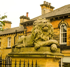 249 -  Saltaire - Lion guarding Salt Mills (1 of 1) (md2399photos) Tags: 2jun17 almshouses davidhockney robertspark saltaire saltaireunitedreformedchurch saltsmill victoriahall
