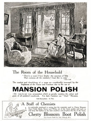British advertisements: (painting in light) Tags: british advertisement advert ad sell selling illustration art drawing 1926 mansion polish housework cleaning clean cherry blossom boot