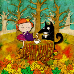 befriending my enemies (crosti) Tags: autumn trees friends two hot art fall leaves collage illustration for weird cool nice wolf sad calendar forrest tea mixedmedia christina chloe falling teapot illustrator bizarre enemy 2010 numbered foes collectorsitem tsevis crosti