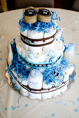 IMG_4236 (Joanne H Pio Photography) Tags: blue boy polkadots ribbon babyshoes babyshower tiers babypowder diapercake
