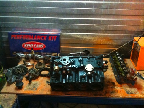 The short block and components ready for rebuild