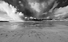return trip (jamesgalpin) Tags: sky clouds mono sand footprints olympus devon e3 2009 horseshoes woolacombe 714mm anawesomeshot