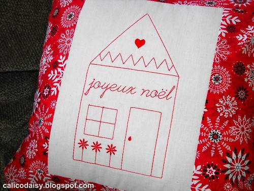joyeux noel embroidered pillow