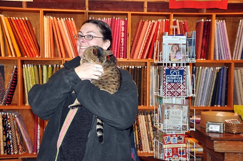 Katy with Patches, quilt shop cat