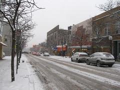 A snowy scene on Liberty Street