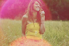 a chain of events (lanuiop) Tags: trees summer portrait woman film girl smile yellow outside happy wheat lensflare laugh grasses prairie tubetop bareshoulders kjerst