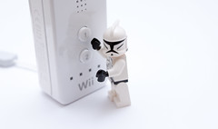 stormtroopers can't play on the wii... (jonoakley) Tags: storm trooper star lego buttons gaming short wars console wii