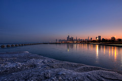 (Kevin Dickert) Tags: city winter sunset urban lake snow chicago ice skyline architecture night buildings reflections frozen downtown cityscape waterfront skyscrapers dusk towers shoreline lakemichigan shore nightime lakeshore getty canon5d bluehour hdr highdynamicrange lakefront highrises gettyimages nightfall density urbanity blueperiod canonef1740mmf4l fullertonavenuebeach iamhydrogen kevindickert