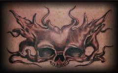 skull chestpiece (Billy Whaley Tattoo) Tags: new white black men tattoo ink skull grey idea big cool scary kentucky awesome chest manly badass large evil indiana morbid albany billy louisville piece asgard whaley