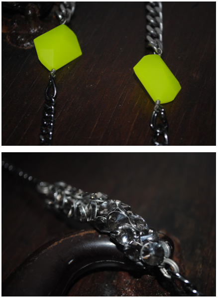 Neon green beads and crystals