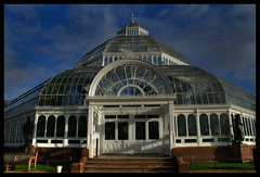 sefton park palm house (Lynn Meacock (lifes been getting in the way)) Tags: windows glass statue clouds liverpool photoshop bench shadows sony steps entrance conservatory doorway greenhouse a200 flickrmeet seftonpark palmhouse cs3 toffeelady72