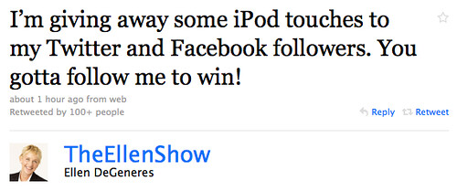 The Ellen Show iPod Giveaway on Twitter and Facebook