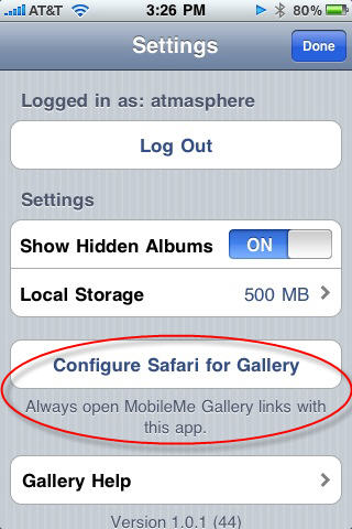 Configure Safari for Gallery