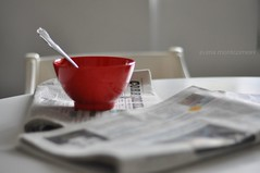 breakfast news (Monty-e*) Tags: red stilllife 50mm d nikkor f18 colazione corrieredellasera mattino notizie tazzarossa breakfastnews bowlofcereals