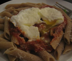 Poached egg on pasta