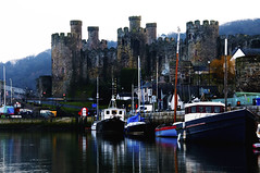 Conwy Castle and Quay (Richard John Linnett) Tags: reflection castle water wales boats north conwy digitalcameraclub