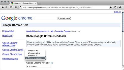Share Google Chrome feedback - make your OS choice...