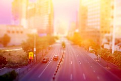 Flinders St. Melbourne. (Stephen.James) Tags: road city sunset cars sign miniature highway australia melbourne freeway cbd tiltshift