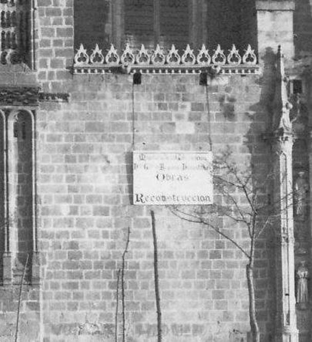 Cartel anunciador de las obras de Reconstrucción del monasterio de San Juan de los Reyes hacia 1950