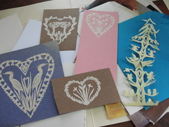 First attempts at paper cutting (mbrichmond) Tags: trees blackandwhite nature birds animals miniature small scissors tiny symmetrical treeoflife recycledpaper papercuttings