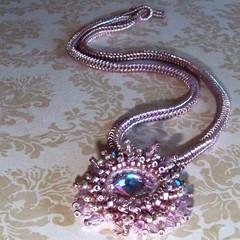 A Gift for myself (PinkPoochDesigns) Tags: necklace lavender jewelry beadwork seedbeads beadednecklace beadweaving beadedjewelry beadwoven swarovskirivoli
