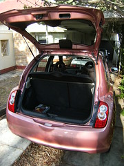Micra rear view (Suzieboots) Tags: pink car nissan elvis micra firstcar belgianchocolate citycollection londonrose