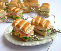 Sandwich earrings (Cookieland) Tags: food cheese bread miniature salad sweet handmade fake mini jewelry ham sandwich polymerclay fimo clay tiny earrings minifood pane insalata prosciutto fakefood formaggio panino maionese miniaturefood maionnaise cookieland