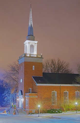 Our Lady of the Pillar Roman Catholic Church, in Saint Louis County, Missouri, USA - exterior view at night