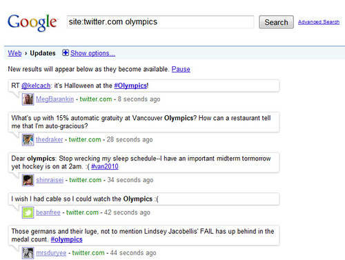 Google Real Time Search: Twitter & Olympics