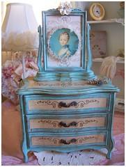 Marie Antoinette JEWELRY BOX (Rose Petals & blooms) Tags: blue wallpaper vintage ruffles aqua handmade mixedmedia banner garland frame jewels rosette rhinestones marieantoinette alteredart jewelrybox swingframe
