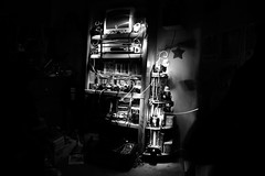 I spy... (Photofidelity) Tags: blackandwhite bw dark fun mess room collections cameras paintingwithlight flashlight cameracollection vintagecameras