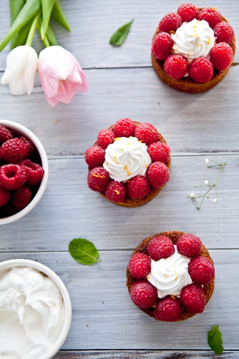 Raspberry Pistachio Frangipane Tarts With Meyer Lemon Chantilly