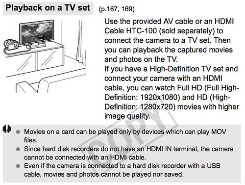 Movie / video playback and viewing images on high-definition TV Sets using a HDMI HTC-100 cable, as described on Page 160 of the Canon T2i Manual