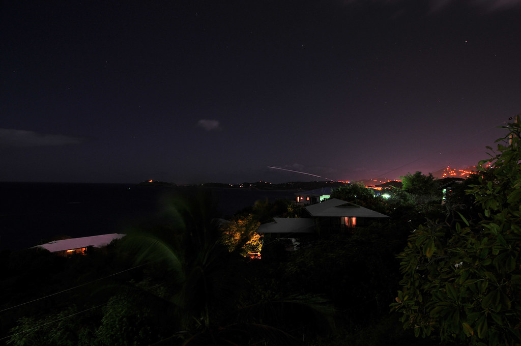Plane leaving Saint Thomas at night