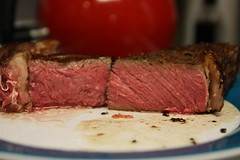 Sous Vide Ribeye Steak cooked for 4 hours at 120 degrees F by snekse on Flickr