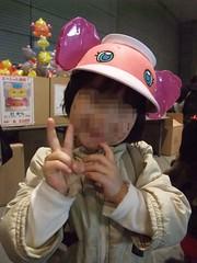 アネム帽子で満面の笑み