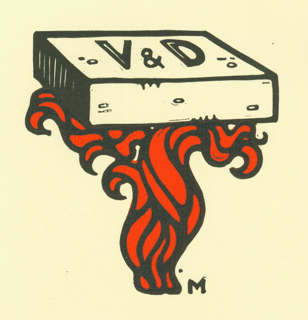 Original woodblock endpaper illustration by Guido Marussig for Veni. VD. Vici.
