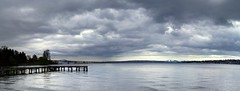 Lake Washington Panorama (CC) (KurtClark) Tags: panorama clouds dock creativecommons lakewashington bellevue floatingbridge