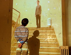 little boy beholding photo projection (Winfried Veil) Tags: leica boy shadow berlin art wall stairs germa