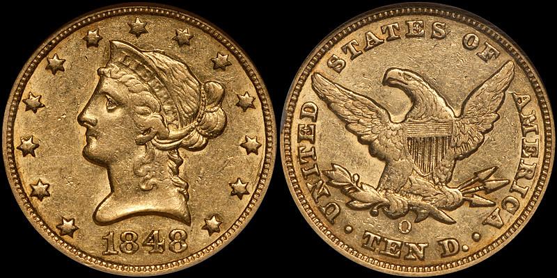 1848-O $10.00 NGC AU58 CAC