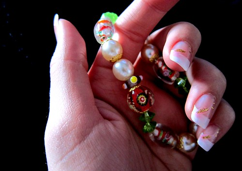 Beauty Perfect French Nails and bracelet to match the design